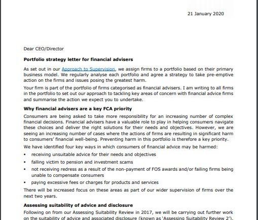 Dear CEO, FCA, Financial Services regulation, Suitability, Suitability of advice